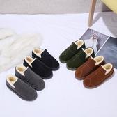 布萊扣冬季雪地靴女平底懶人靴短筒加絨加厚保暖棉鞋女學生面包鞋
