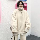 冬季女裝韓版復古寬松加厚仿羊羔毛皮毛一體棉衣棉服外套