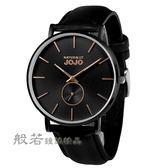 NATURALLY JOJO 經典簡約小秒針時尚腕錶-黑帶/黑面