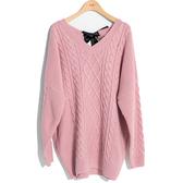 秋冬販促[H2O]可當上衣或洋裝兩穿麻花織紋長版毛衣 - 紅/白/粉色 #9660002