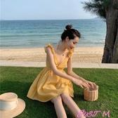露背洋裝女巴厘島海邊度假裙超火小個子性感露背吊帶沙灘連身裙女夏春季新品