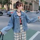 大碼長袖牛仔外套 夾克 女短款流行時尚減齡小個子大碼寬松韓版夾克上衣3F132 韓依紡