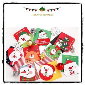 【543】韓國創意聖誕賀卡韓國創意異形卡通賀卡小卡片節日祝福卡9入裝WG054