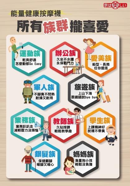 【能量銀行家】京美竹炭銀纖維 能量健康按摩襪(寬口) 六雙/組