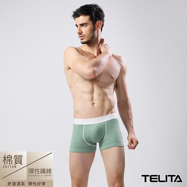男內褲【TELITA】亞麻色系運動平口褲 四角褲 亞麻綠