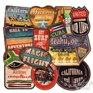 36張復古沙灘沖浪行李箱貼紙筆記本電腦吉他旅行箱涂鴉貼畫 【快速出貨】
