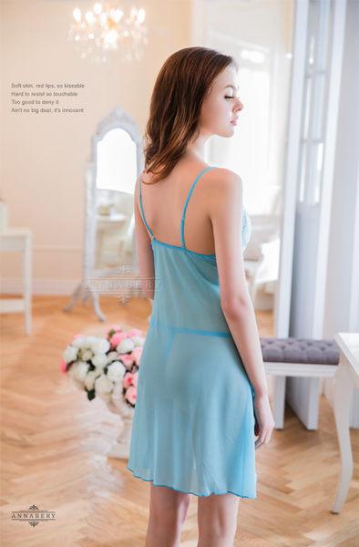 (特價) 大尺碼 Annabery粉藍柔紗側開襟二件式睡衣 (OS小舖)
