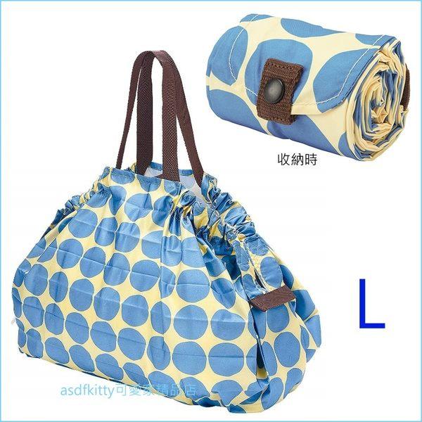 asdfkitty可愛家☆日本MARNA Shupatto 藍黃點點L號輕量購物袋/環保袋/耐重/快速摺疊收納-日本正版