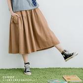裙子  日系必GET側口袋拼接斜紋棉八分裙  三色-小C館日系