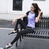 夏季健身房運動服女胖mm大碼瑜伽跑步速干衣短袖假兩件褲套裝顯瘦
