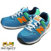 New Balance 574 橘/藍色 皮革 運動鞋 中大童 NO.Q8818