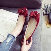 女春秋季圓頭淺口平底單鞋工作鞋平跟