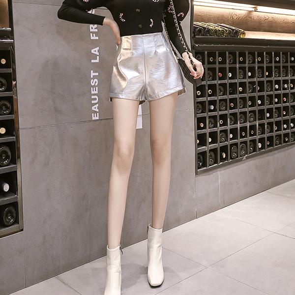 短褲女高腰寬鬆2019秋冬韓版時尚氣質休閒褲銀色pu皮a字闊腿褲潮