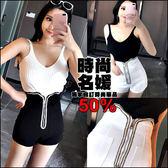 克妹Ke-Mei【AT46574】歐美時髦感 銀蔥編織拉鍊西裝闊腿高腰短褲