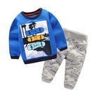 男baby男童裝長袖套裝藍色沙灘風景印花...