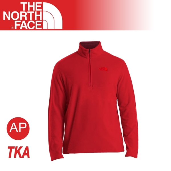 【The North Face 男 長袖刷毛套頭衫《尊爵紅》】AJGW/質輕/保暖上衣/立領
