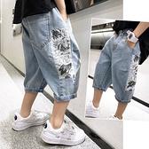男童牛仔褲 牛仔短褲2021年新款夏季洋氣潮童兒童寬鬆中褲休閒七分褲薄款【快速出貨】