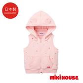 MIKI HOUSE 日本製 Petit刺繡連帽背心(粉)