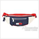 TOMMY JEANS刺繡LOGO拼色設計帆布拉鍊胸腰包(海軍藍x白x紅)
