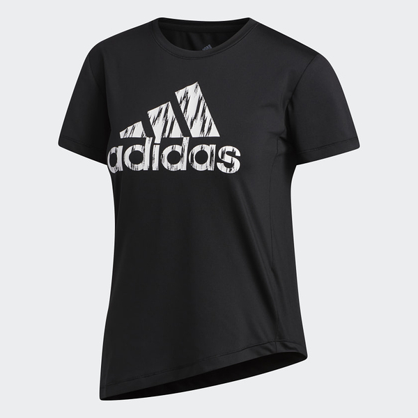 Adidas Badge of Sport 女款黑色側綁帶短袖上衣-NO.FL2287