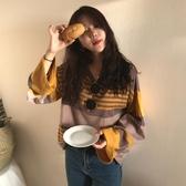 怪味少女初秋長袖上衣女裝2018新款韓版寬鬆條紋T恤網紅同款衣服