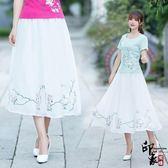 中國風民族風原宿繡花大擺雪紡半身裙白色【印象閣樓】