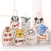 Norns【帆布飲料提袋 造型款】迪士尼正版 米奇 奇奇 小熊維尼 史迪奇 瑪麗貓 飲料袋 冰霸杯提袋