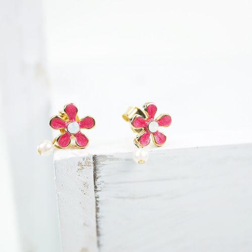 【粉紅堂飾品】珍珠小花可愛耳環 *粉紅色*