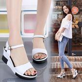 坡跟厚底增高涼鞋真皮坡跟涼鞋女鞋-蘇迪奈
