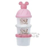 〔小禮堂〕迪士尼 米妮 日製造型蓋塑膠三層奶粉罐《粉白》奶粉盒.食物盒.餅乾盒 4904121-36403