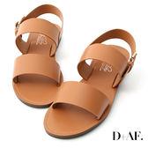 D+AF 夏日潮流.寬版一字平底涼鞋*棕