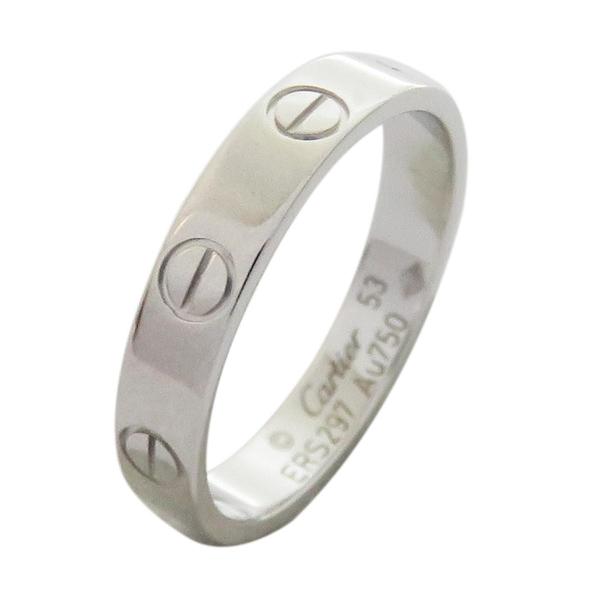 Cartier 卡地亞 LOVE系列18白K金戒指 #53 LOVE Wedding Ring【二手名牌 BRAND OFF】