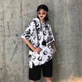 年終盛典 短袖連帽大學T女2018新款寬鬆韓版薄款夏季學生套頭運動短款上衣潮