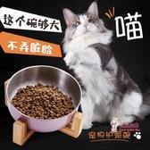 貓食盆 貓碗雙碗椎防打翻不銹鋼喝水傾斜飯盆貓咪糧盆單碗寵物狗碗 3色