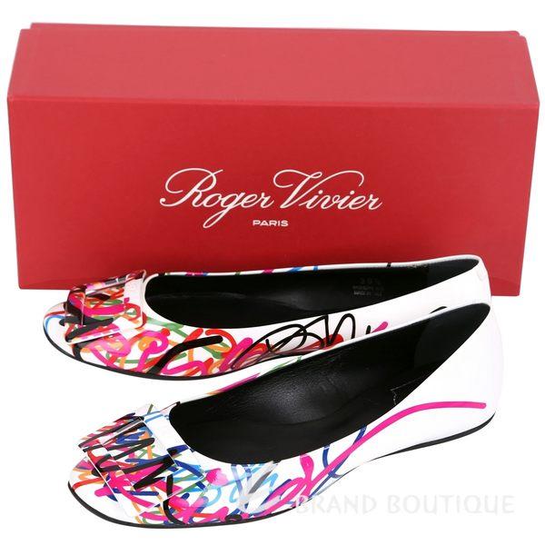 Roger Vivier Gommette Graffi 多彩塗鴉漆皮方框平底鞋 1620912-20