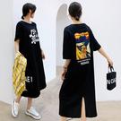 短袖連身裙 棉 懶人裙8007#夏新款長款大碼背后開叉趣味印花短袖連身裙JYF5快時尚