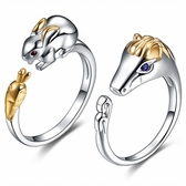 戒指 原創抖音925純銀十二生肖男女情侶戒指開口食指環禮物兔豬鼠虎蛇
