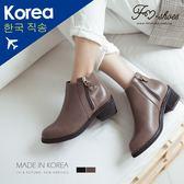靴.雙拉鍊粗跟短靴-FM時尚美鞋-韓國精選.Autumnal