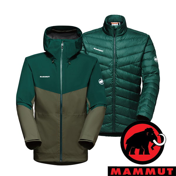 【MAMMUT 長毛象】Convey 3男兩件式GT羽絨外套『綠鬣蜥/深水鴨綠』1010-29150 外套 保暖 禦寒
