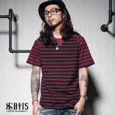 【BTIS】異色條紋 拼接短袖上衣 / 酒紅色