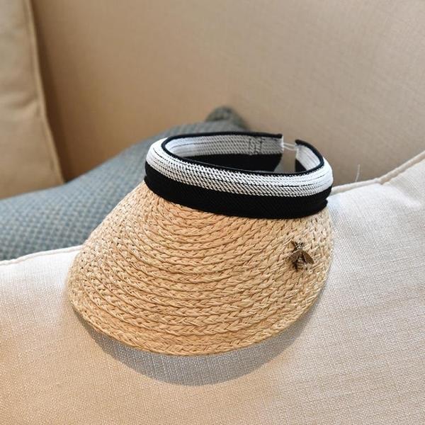 草帽 草空頂帽女沙灘度假防曬鴨舌帽遮陽帽太陽帽