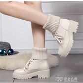 中筒靴 歐洲站毛線筒短靴粗跟加絨厚底中筒繫帶彈力女靴大碼棉鞋 探索先鋒