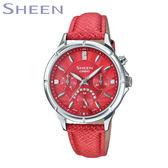 CASIO SHEEN 水鑽三眼紅色皮帶女錶 LED燈 日期星期顯示 SHE-3047L-4A 公司貨 | 名人鐘錶高雄門市