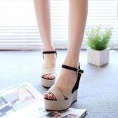 厚底涼鞋 2021新款磨砂坡跟涼鞋女夏高跟優雅公主鬆糕厚底防水臺露趾女鞋潮 薇薇