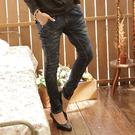 牛仔褲--經典剪裁纇哈倫褲勻染中腰窄管牛...