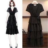 工廠批發價不退換流行中大尺碼洋裝XL-5XL/31958/(升級加內襯)女V領亮絲中長款氣質仙女蛋糕連衣裙