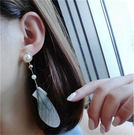 Qmigirl 韓版時尚誇張天然石幾何菱形 珍珠羽毛長款耳環 耳墜  【QG2316】