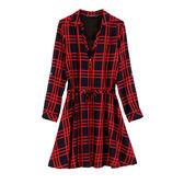 【MASTINA】紅黑格紋洋裝-紅 0612