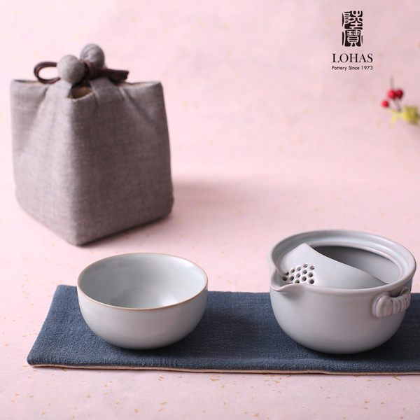 陸寶【汝窯仙石隨手泡】   一碗一杯壺袋 旅行茶器