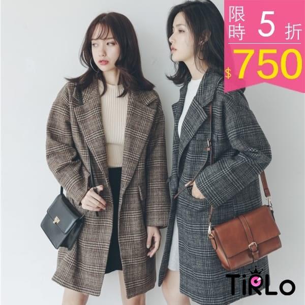外套-Tirlo-中長版格紋前毛呢西裝外套-兩色